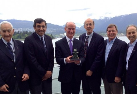 Dr. Alvin Zipursky, Dr. Zulfiqar Bhutta, Dr. Mark Kline, Dr. Roger Glass, Dr. Bob Black, and Dr. Stanley Zlotkin at the Pediatric Academic Socieities / Asian Society for Pediatric Research Joint Meeting in Vancouver, British Columbia, Canada