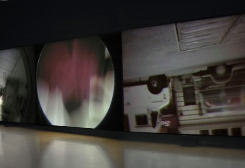 Steve McQueen, Drumroll, 1998. Triptych, color video projection with sound, dimensions variable. The Museum of Contemporary Art, Los Angeles. Partial and promised gift of Blake Byrne in honor of Jeremy Strick. Photo by Brian Forrest.