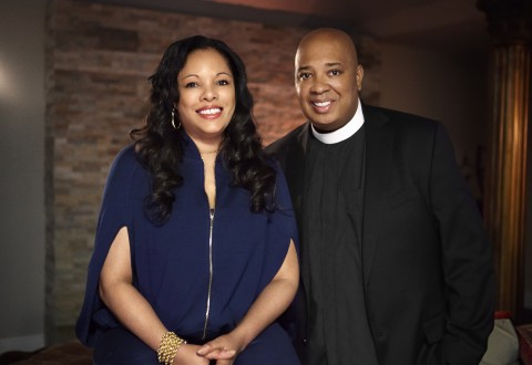Rev Run and his wife, Justine  Simmons, on Rev Run's Sunday Suppers
