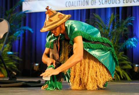 A student from the Sankofa Schools, COSEBOC's mentorship program, performs a traditional dance during the 2014 COSEBOC Gathering of school leaders