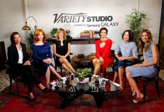 (L-R) Actresses Molly Parker, Christina Hendricks, Anna Gunn, Bellamy Young, Lena Headey and Michelle Monaghan attend the Variety Studio powered by Samsung Galaxy at Palihouse on May 29, 2014 in West Hollywood, California  (Photo by Joe Scarnici/Getty Images for Variety)