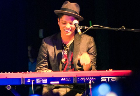 Singer Bruno Mars performing