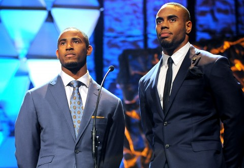 NFL players Justin Bethel (L) and Rashad Jennings speak onstage during the 16th Annual Super Bowl Gospel Celebration - Photo by Marcus Ingram/Getty Images for Super Bowl Gospel