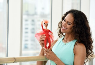 "Misty Copeland unveils her new Barbie doll for Project Plie dancers at the American Ballet Theatre in New York City. The one-of-a-kind doll, made in Misty's likeness, continues to show girls they can be anything and is part of the brand's ""Sheroes"" line. Credit: Diane Bondareff, AP Photographer (PRNewsFoto/Mattel)"