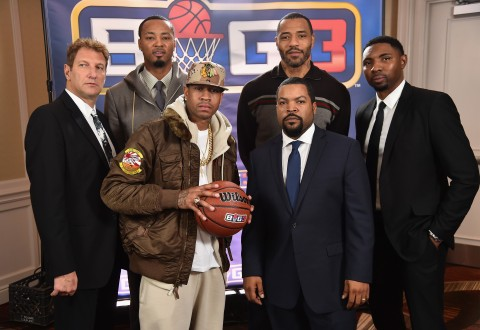 (L-R) Jeff Kwatinetz, Rashard Lewis, Allen Iverson, Ice Cube, Kenyon Martin, and Roger Mason Jr. attend a press conference announcing  the launch of the BIG3, a new, professional 3-on-3 basketball league, on January 11, 2017 in New York City.  (Photo by Michael Loccisano/Getty Images for BIG3)