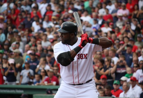 David Ortiz at bat for the Boston Red Sox. Photo by Parker Herrington