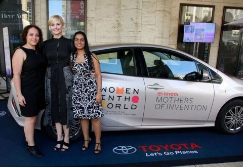 (L-R) 2017 Toyota Mothers of Invention Hahna Alexander of SolePower, Sarah Evans of Well Aware and Komal Dadlani of Lab4U attend the 8th Annual Women in the World Summit.