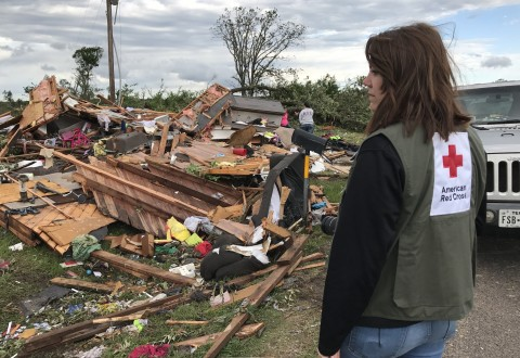 American Red Cross volunteer Bailey Moir surveys the damage in her hometown of Canton, TX after tornadoes swept through this past weekend. Moir watches as people sort through their belongings in the rubble, knowing she is headed next to help her father do the same at his home nearby. (PRNewsfoto/American Red Cross)