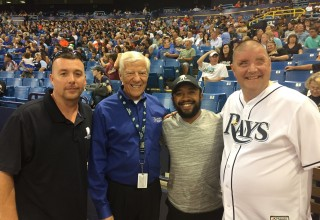 The Tampa Bay Rays-Miami Marlins baseball game was a relaxed setting where Wounded Warrior Project veterans and their families shared experiences, created new memories, and learned about how WWP programs can heal their bodies and minds. (PRNewsfoto/Wounded Warrior Project)