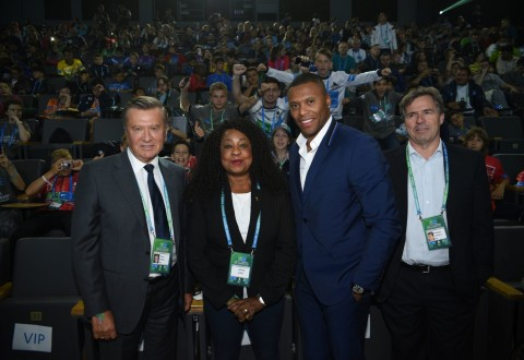 Viktor Zubkov, Fatma Samoura, Júlio Baptista, Philippe Le Floc'h (PRNewsfoto/GAZPROM FOOTBALL FOR FRIENDS)