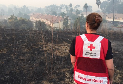 Fast moving wildfire swept through the hills of Ventura County CA early Tuesday morning December 5 leaving devastation for miles and residents seeking shelter as they were forced to evacuate the area. Photo by Dermot Tatlow/American Red Cross (PRNewsfoto/American Red Cross)