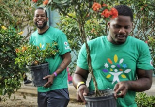 At the Comcast Cares Day project at Belvedere Elementary School in West Palm Beach, volunteers Michael Jean-Mary and Brandon McCray from the Wounded Veterans Relief Fund plant new trees. (PRNewsfoto/Comcast)