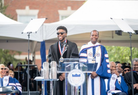 Chadwick Boseman delivers the 2018 commencement address at Howard University. (PRNewsfoto/Howard University)