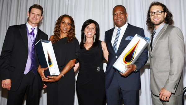 (l-r) Master of Ceremony Thomas Leffler, Holly Robinson Peete, Raja Marhaba; Founder/President The Jonathan Foundation, Rodney Peete and Jonathan Marhaba, Board Member The Jonathan Foundation. Photo Credit: Vinnie Ratcliff